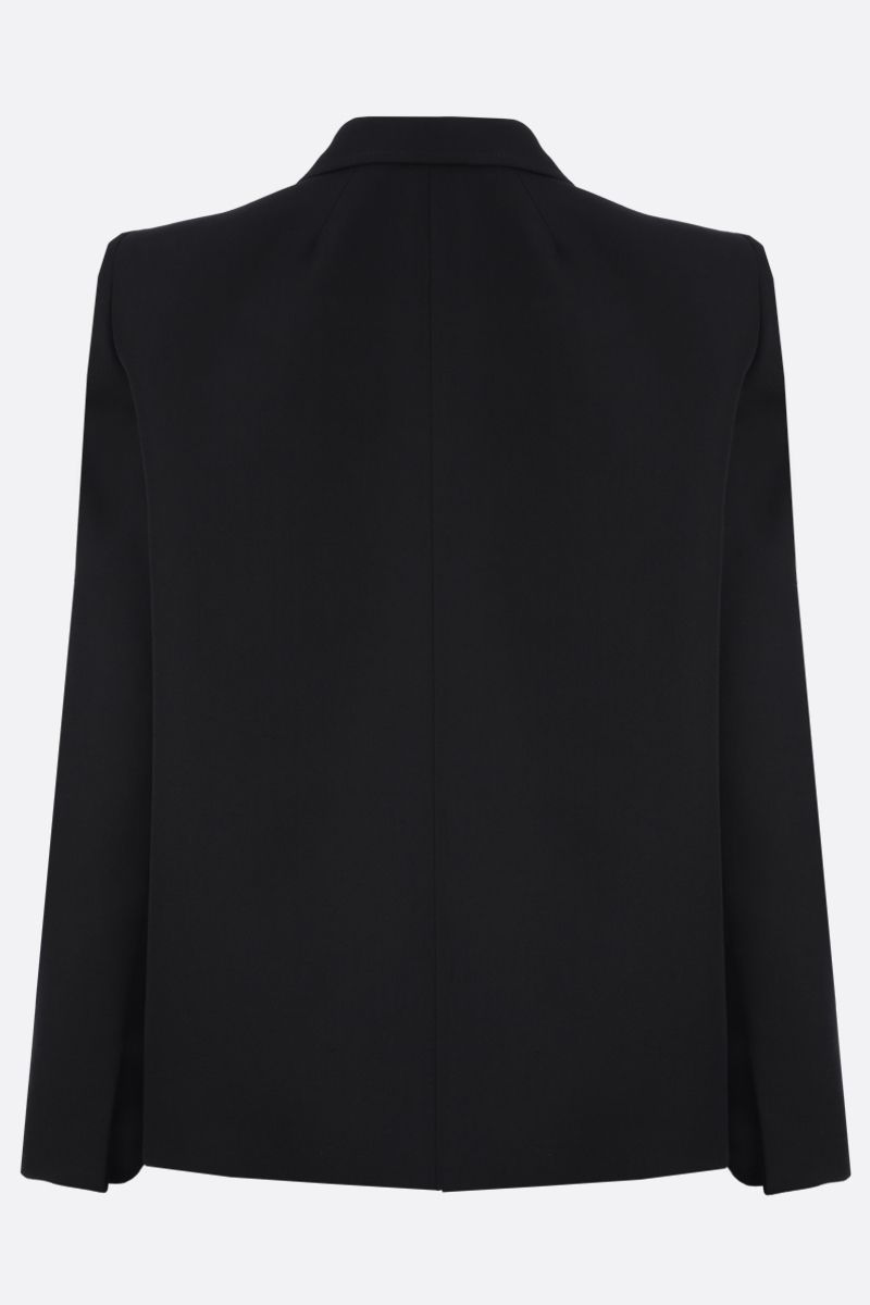 BALENCIAGA: curved shoulder-detailed wool single-breasted jacket Color Black_2