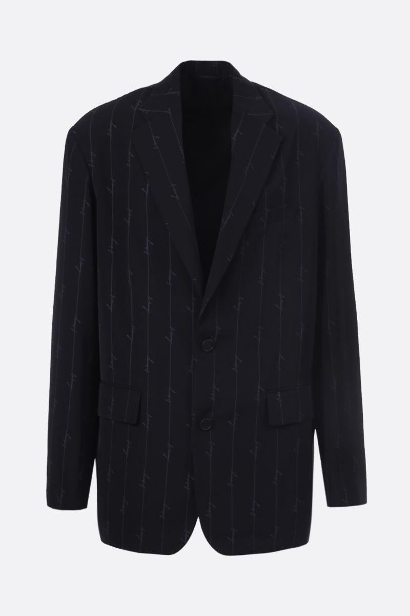 BALENCIAGA: scribble logo print twill single-breasted jacket_1