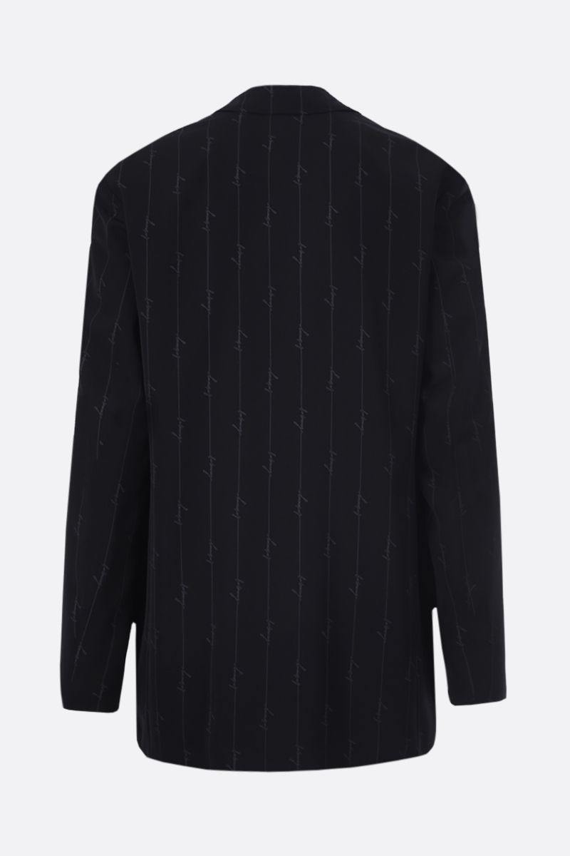 BALENCIAGA: scribble logo print twill single-breasted jacket_2