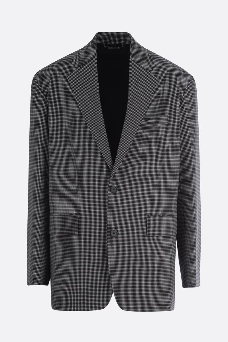 BALENCIAGA: check wool blend single-breasted jacket Color Black_1