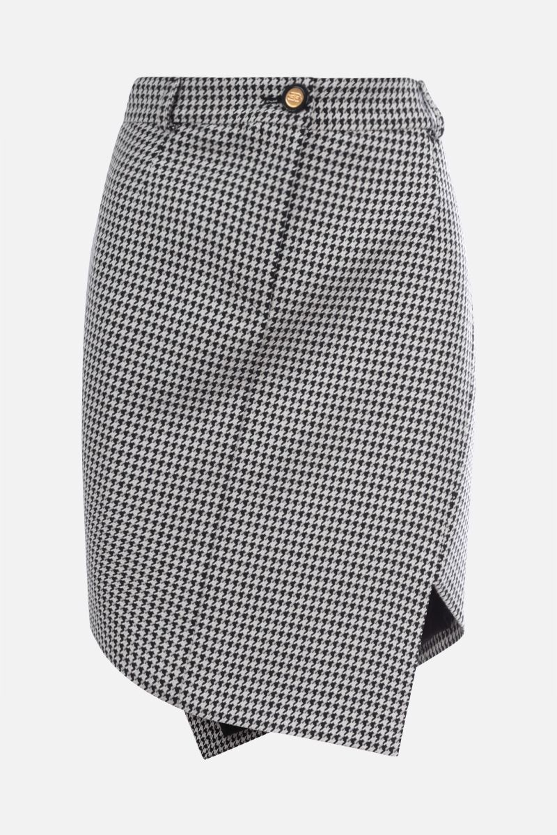 BALENCIAGA: houndstooth wool blend asymmetric skirt Color White_1