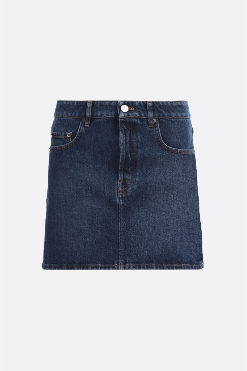 BALENCIAGA: logo label-detailed denim miniskirt_1