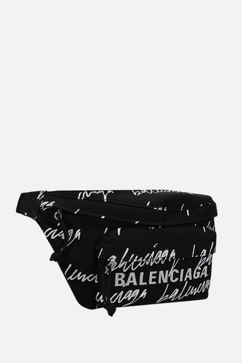 BALENCIAGA: Wheel Scribble logo printed nylon belt bag Color Black_2