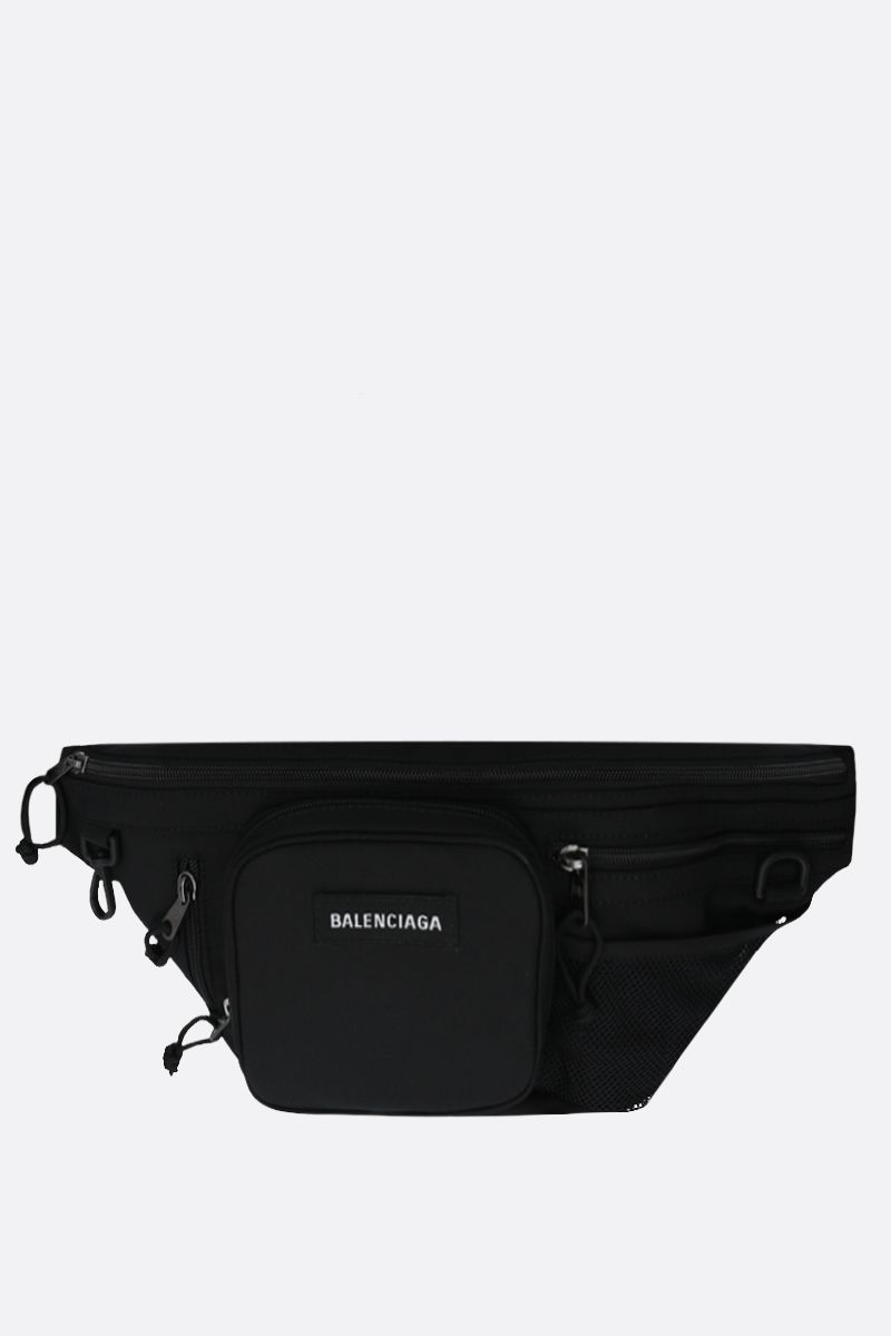 BALENCIAGA: Explorer Multizip nylon belt bag Color Black_1