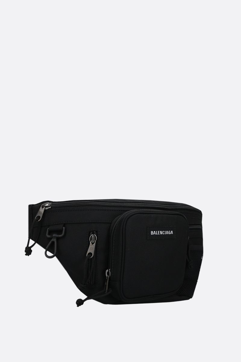BALENCIAGA: Explorer Multizip nylon belt bag Color Black_2