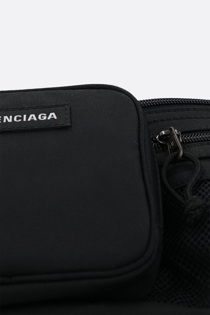 BALENCIAGA: Explorer Multizip nylon belt bag Color Black_4