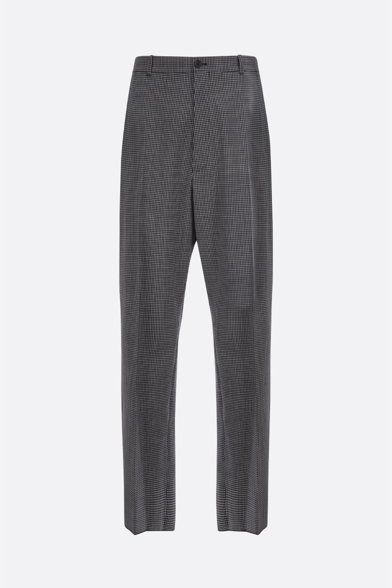 BALENCIAGA: check wool blend straight-fit pants Color Black_1