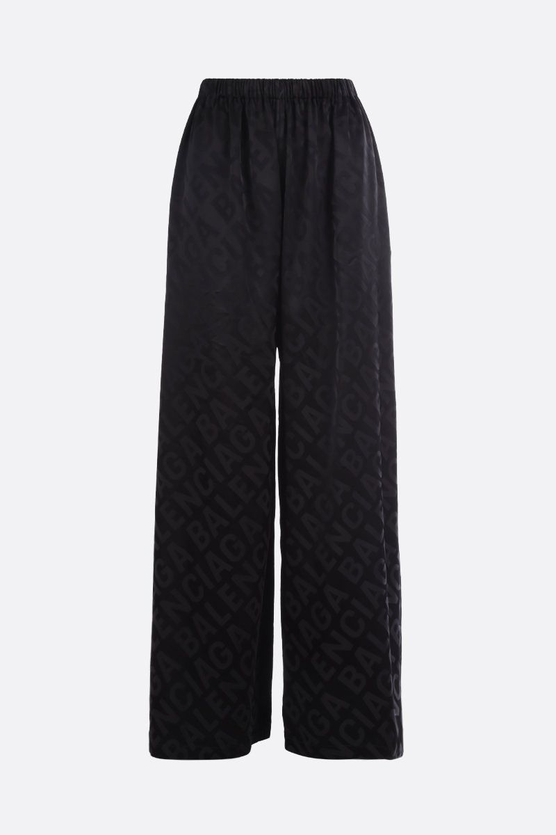 BALENCIAGA: logo-detailed satin wide-leg pants Color Black_1