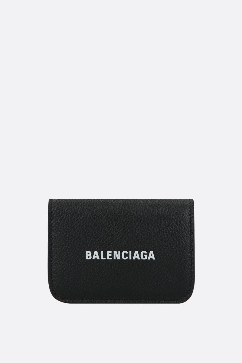 BALENCIAGA: Cash mini grainy leather wallet Color Black_1