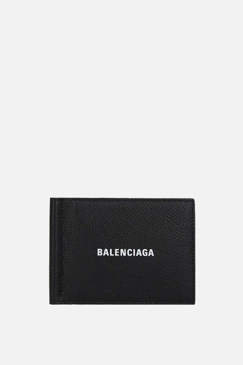 BALENCIAGA: Cash grainy leather money-clip wallet Color Black_1