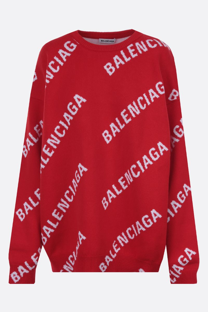 BALENCIAGA: oversize jacquard logo cotton wool blend pullover Color Multicolor_1