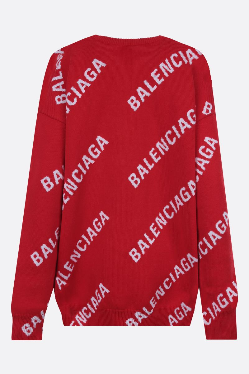 BALENCIAGA: oversize jacquard logo cotton wool blend pullover Color Multicolor_2