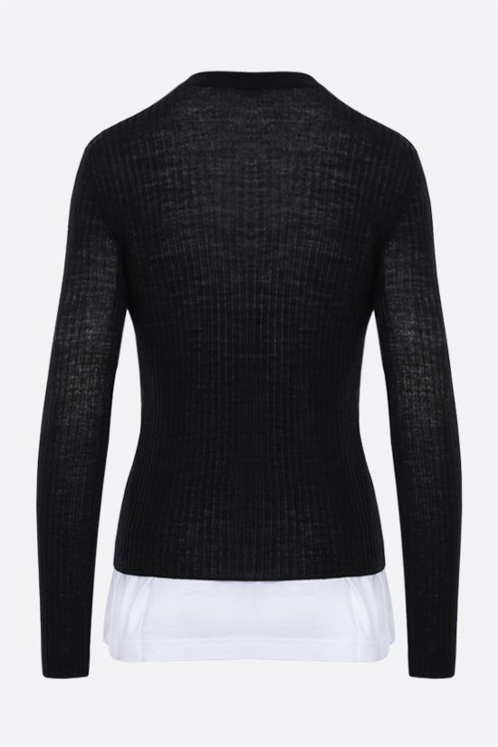BALENCIAGA: ribbed wool layered pullover Color Black_2