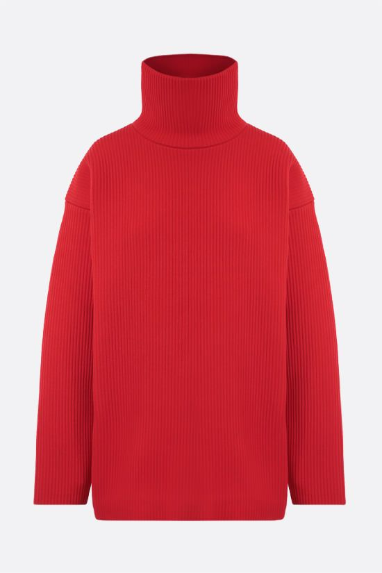 BALENCIAGA: oversize ribbed technical wool pullover Color Red_1