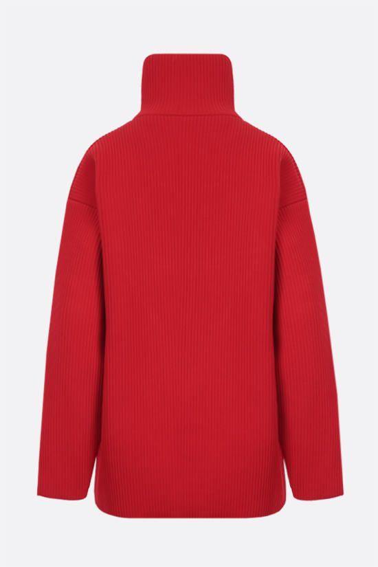 BALENCIAGA: oversize ribbed technical wool pullover Color Red_2