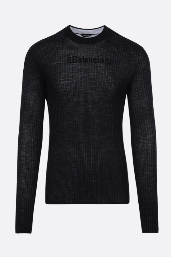 BALENCIAGA: ribbed wool layered pullover Color White_1