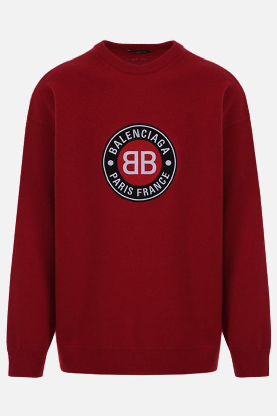 BALENCIAGA: oversize Balenciaga Paris France patch wool cashmere blend pullover Color Red_1