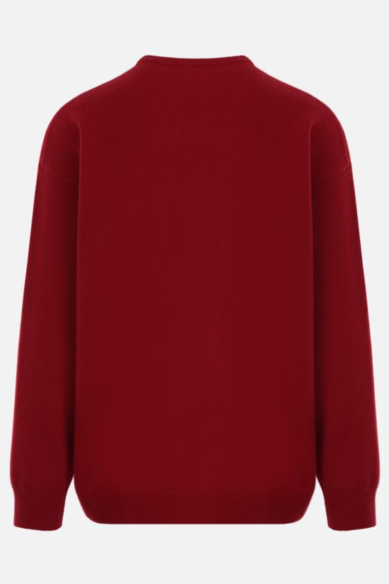 BALENCIAGA: oversize Balenciaga Paris France patch wool cashmere blend pullover Color Red_2