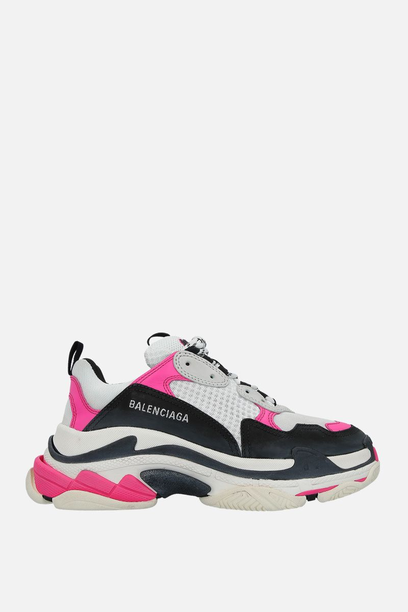 BALENCIAGA: Triple S leather and mesh trainers_1