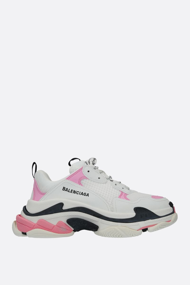 BALENCIAGA: Triple S faux leather and mesh trainers_1