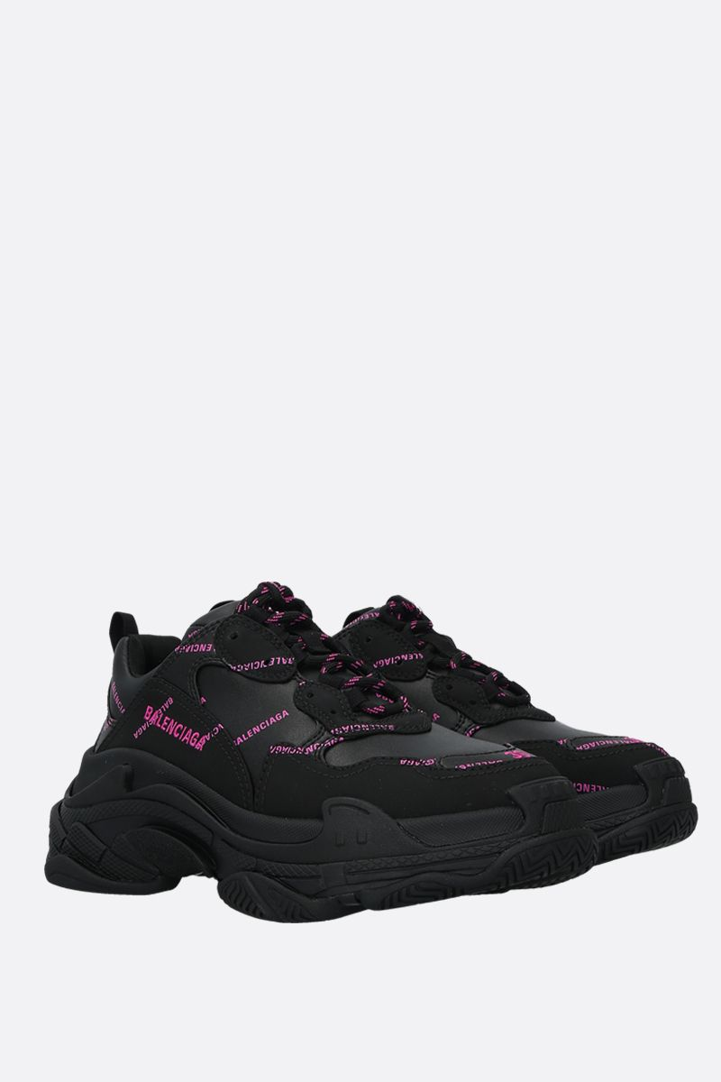 BALENCIAGA: Triple S faux leather sneakers Color Black_2
