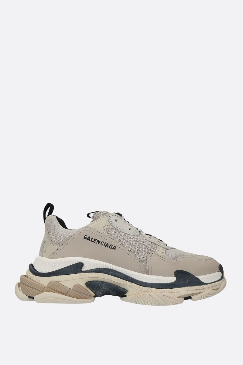 BALENCIAGA: Triple S smooth leather and mesh sneakers Color Multicolor_1