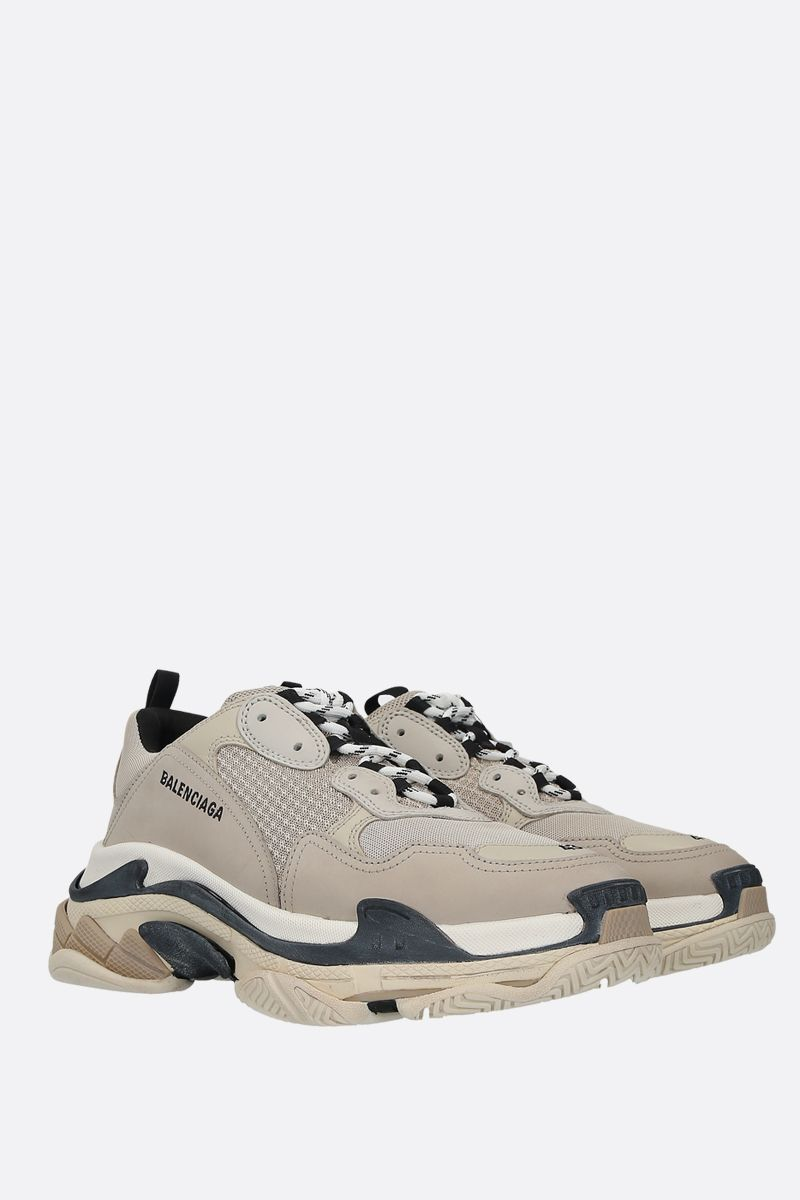 BALENCIAGA: Triple S smooth leather and mesh sneakers Color Multicolor_2