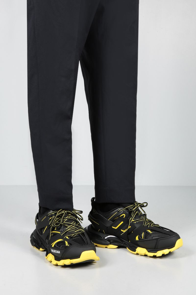 BALENCIAGA: Track faux leather and mesh sneakers Color Black_3