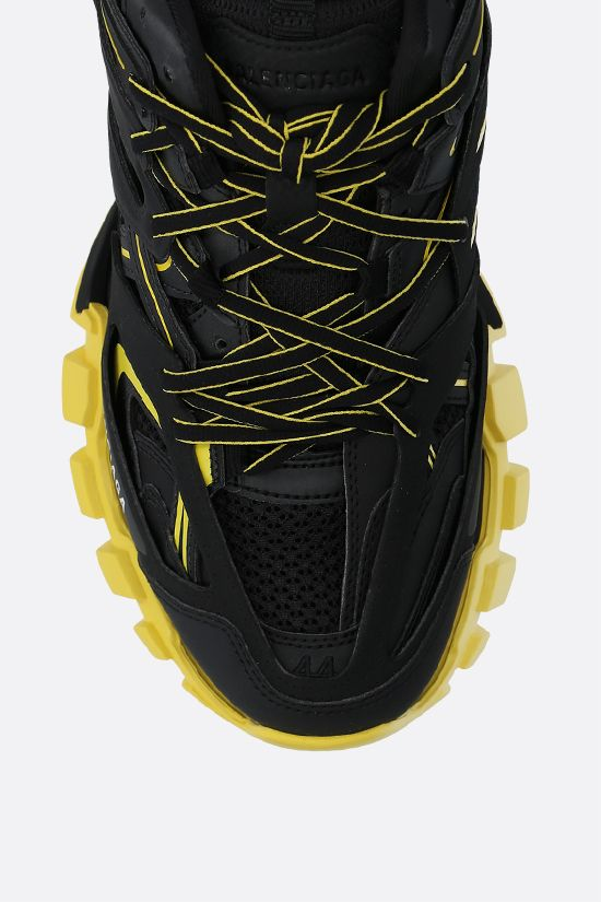 BALENCIAGA: Track faux leather and mesh sneakers Color Black_5