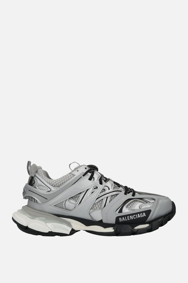 BALENCIAGA: Track faux leather, mesh and rubber sneakers Color Silver_1