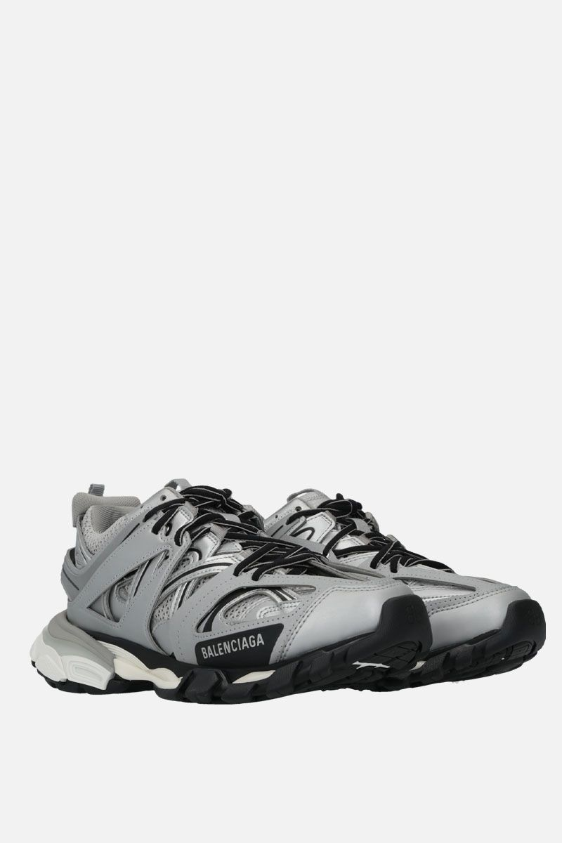 BALENCIAGA: Track faux leather, mesh and rubber sneakers Color Silver_2
