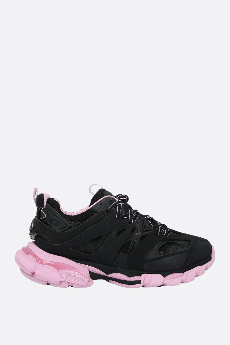 BALENCIAGA: Track faux leather, mesh and rubber sneakers Color Black_1
