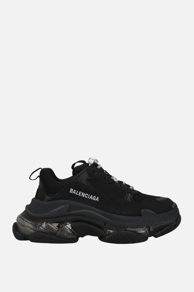 BALENCIAGA: Triple S faux leather and mesh sneakers Color Black_1