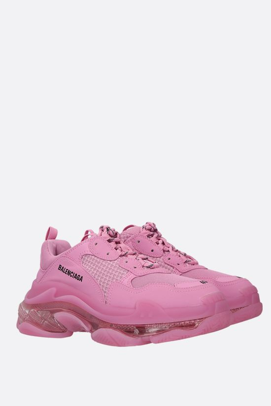 BALENCIAGA: Triple S faux leather and mesh sneakers Color Pink_2