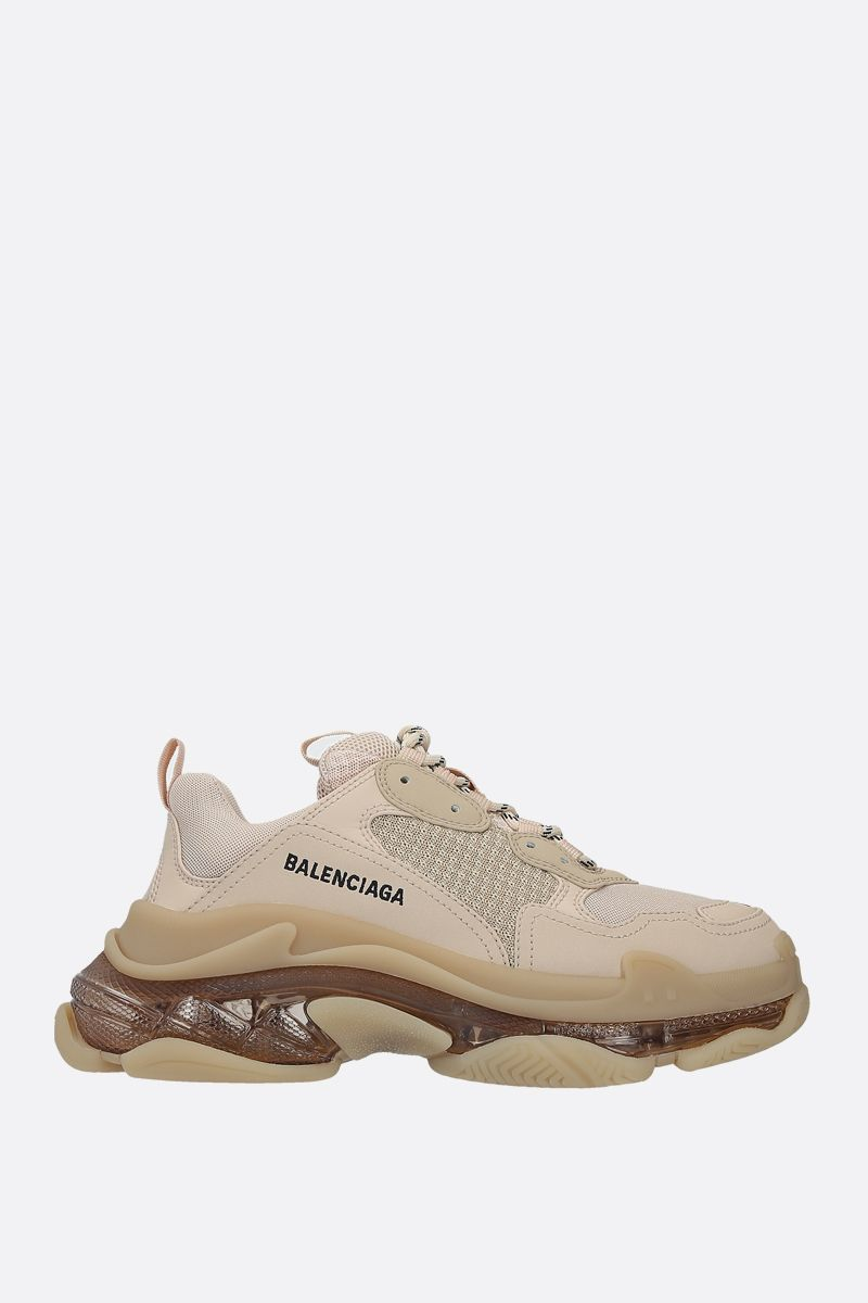BALENCIAGA: Triple S faux leather and mesh sneakers Color Neutral_1