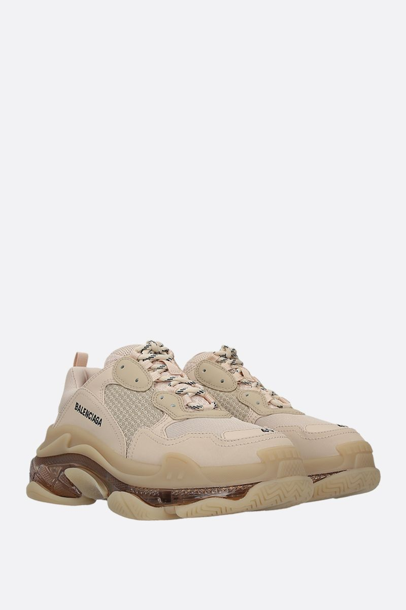 BALENCIAGA: Triple S faux leather and mesh sneakers Color Neutral_2
