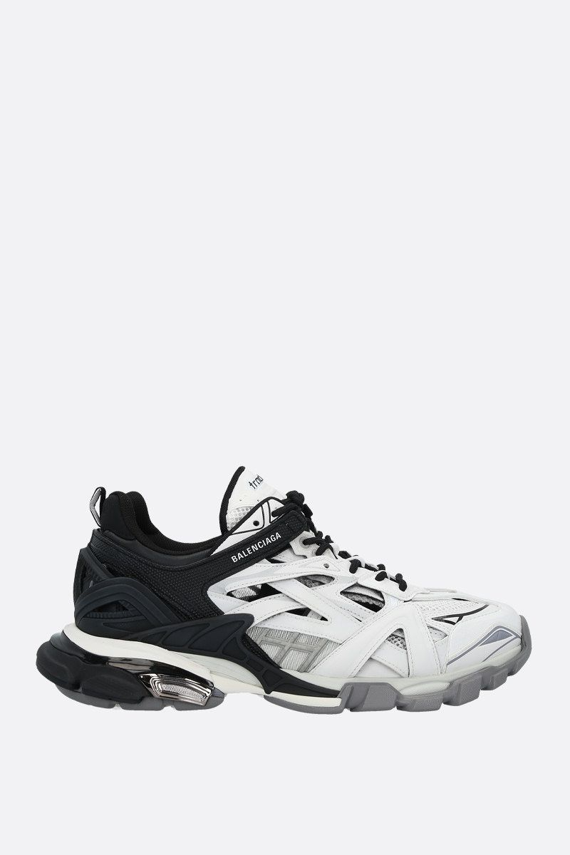 BALENCIAGA: Track.2 faux leather, mesh and rubber sneakers Color Black_1