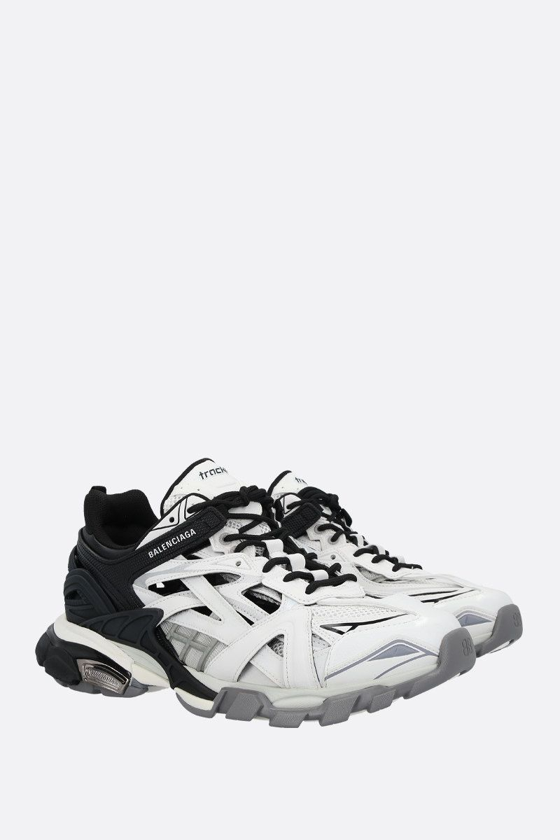BALENCIAGA: Track.2 faux leather, mesh and rubber sneakers Color Black_2