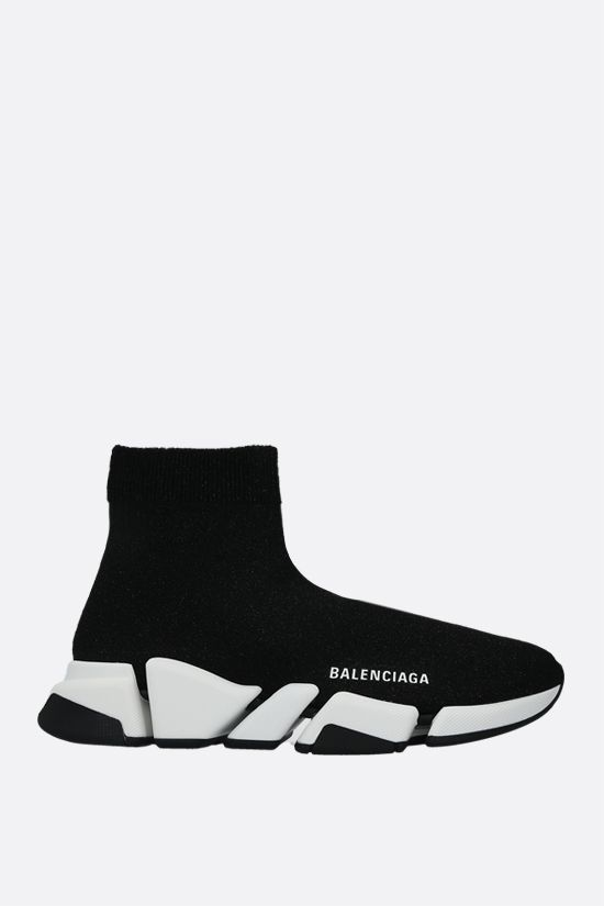 BALENCIAGA: Speed shiny stretch knit trainers Color Black_1