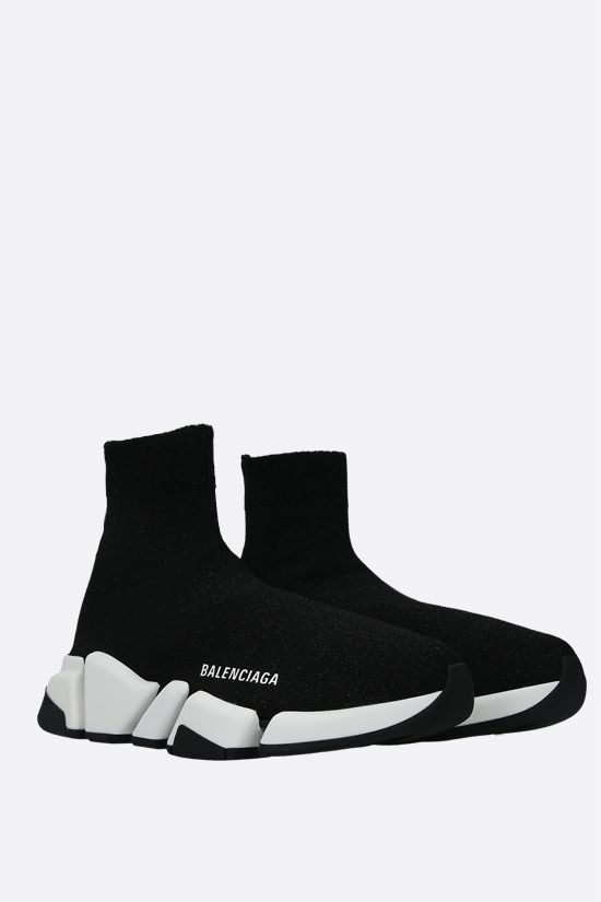 BALENCIAGA: Speed shiny stretch knit trainers Color Black_2
