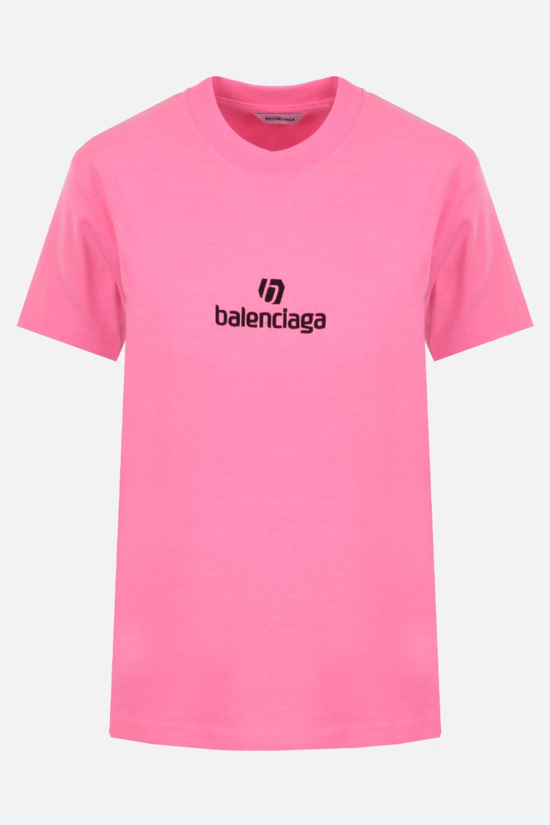 BALENCIAGA: balenciaga embroidered cotton t-shirt Color Multicolor_1