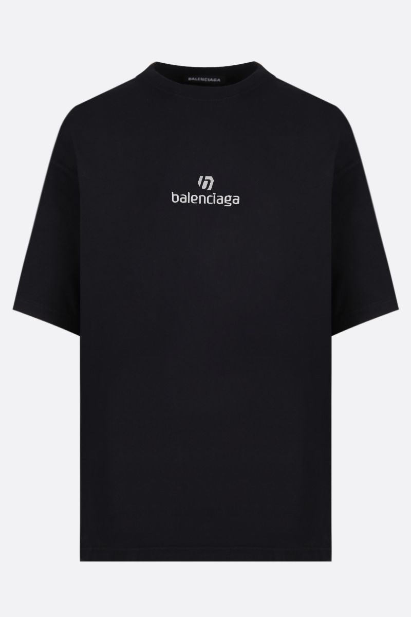 BALENCIAGA: balenciaga embroidered cotton t-shirt Color Black_1