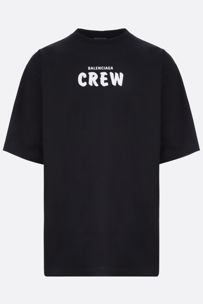BALENCIAGA: Crew print cotton oversize t-shirt Color Black_1