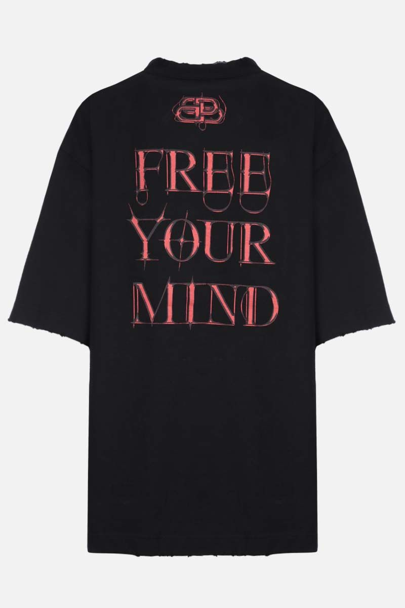 BALENCIAGA: gothic print oversize cotton t-shirt Color Black_2
