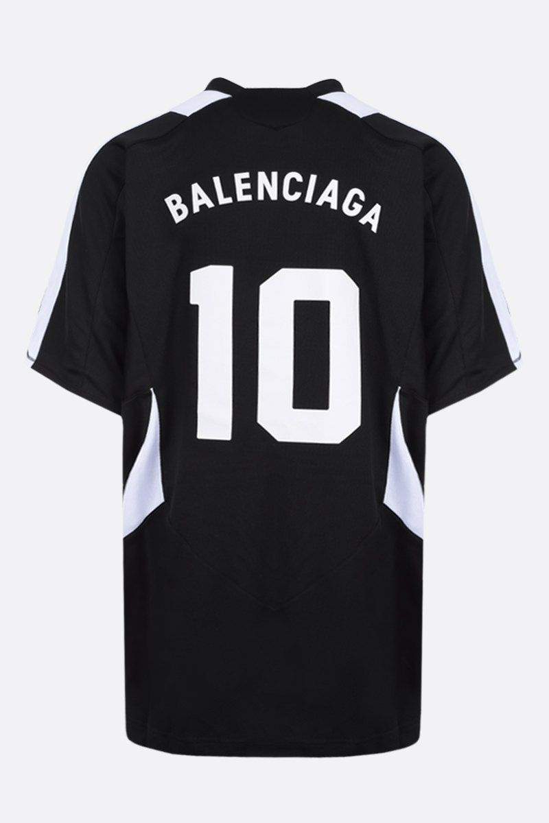 BALENCIAGA: oversized Soccer print mesh t-shirt Color Black_2