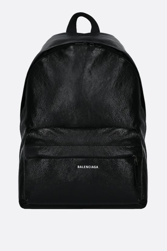 BALENCIAGA: Explorer backpack in Arena leather Color Black_1