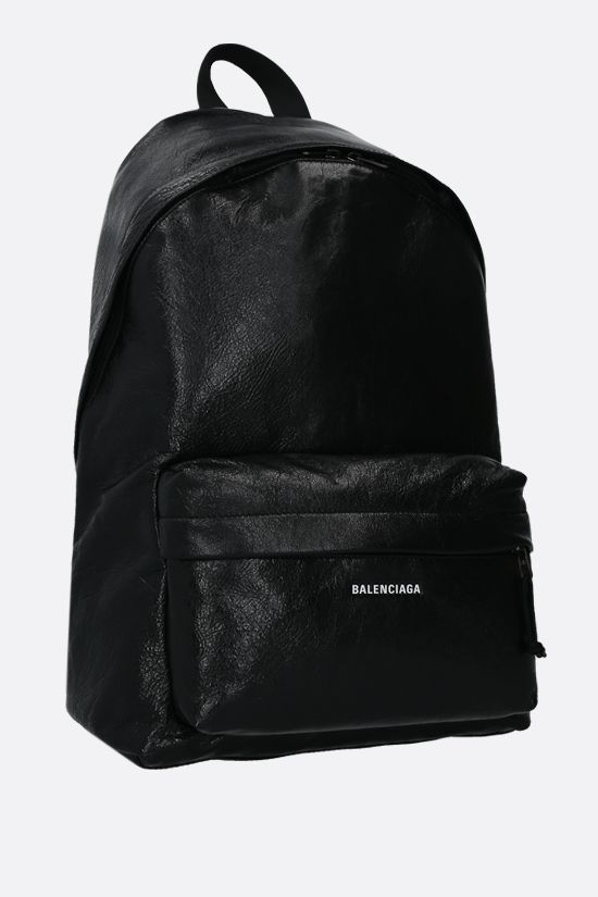 BALENCIAGA: Explorer backpack in Arena leather Color Black_2