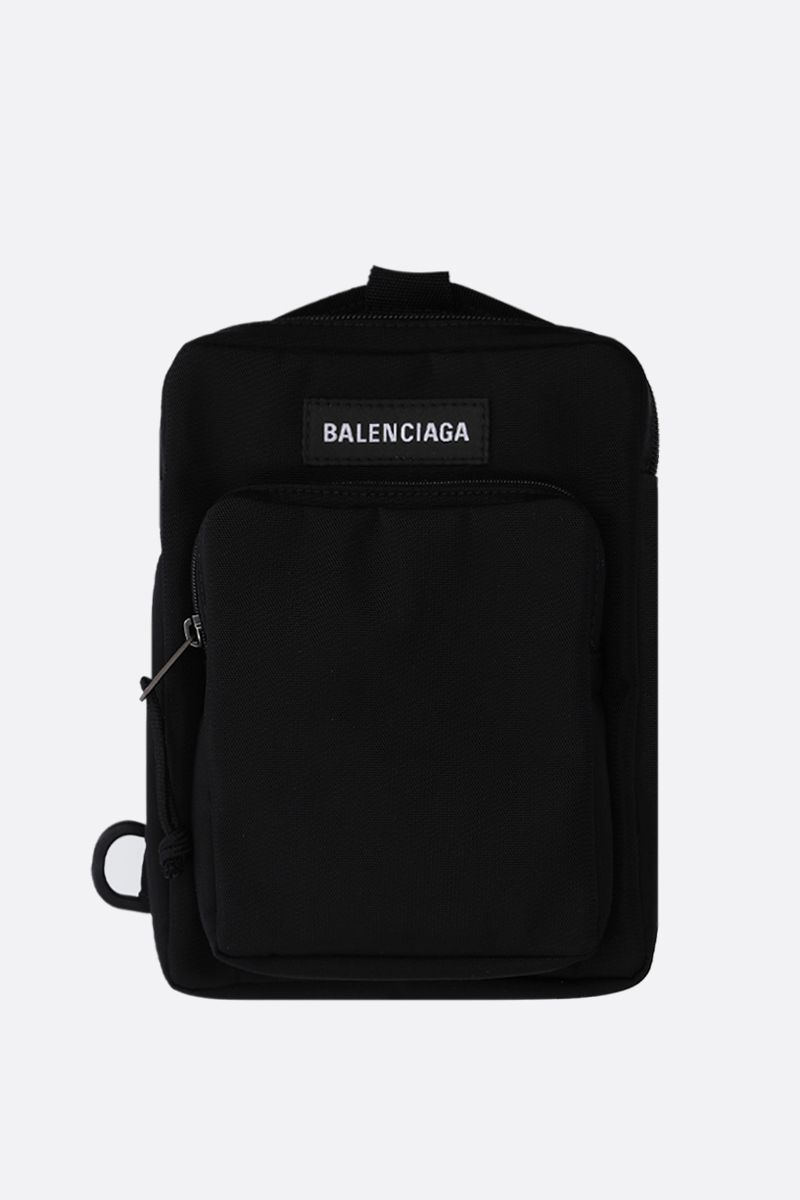 BALENCIAGA: Explorer nylon single-shoulder backpack Color Black_1