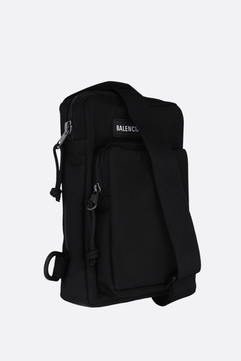 BALENCIAGA: Explorer nylon single-shoulder backpack Color Black_2