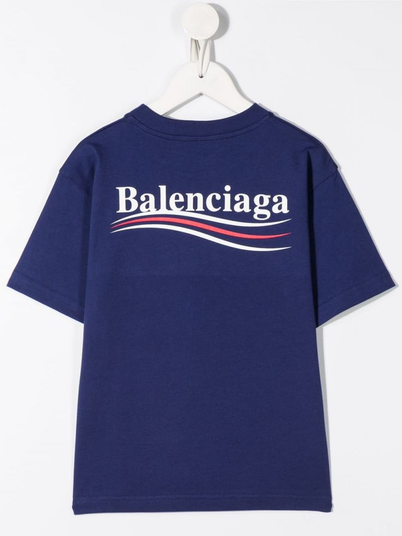 BALENCIAGA KIDS: Balenciaga print cotton t-shirt Color Blue_2